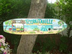 TROPICAL DECORATIVE SURFBOARD ART TROPICAL WHIMSICAL SURFBOARD SIGNS
