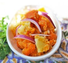 Sweet potato, gold potato and red onion potato salad #vegan #glutenfree