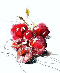 Watercolor Fruit, Watercolor Sketchbook, Watercolour Painting, Watercolor Flowers, Illustration Blume, Botanical Illustration, Watercolor Illustration, Flowers Wallpaper, Poster Photo