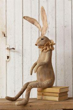 "New Primitive Folk Art Vintage Style BUNNY RABBIT Easter Doll Shelf Sitter 30"" #Country"