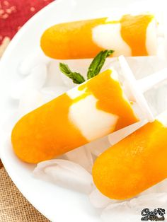 Refreshing popsicles made with mangoes and yogurt.