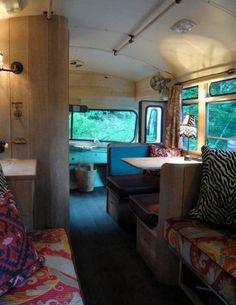 interior of green bus