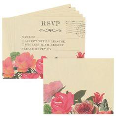 Roses wedding RSVP cards & envelopes - box of 10 - Wedding Invitations - Wedding - Stationery