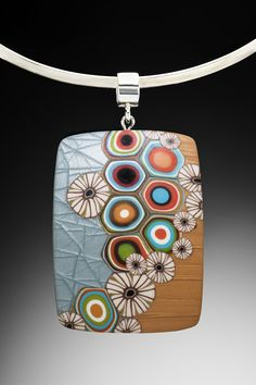 Meisha Barbee polymer clay pendant with mica shift effect.
