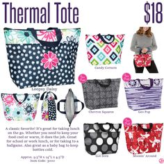 Thirty-One Thermal Utility Thirty One Fall, Thirty One Gifts, Thirty One Thermal, 31 Bags, Chevron, Daisy, Prints, Winter, Winter Time