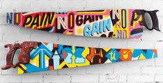Hand-painted Typography on Vintage Saws