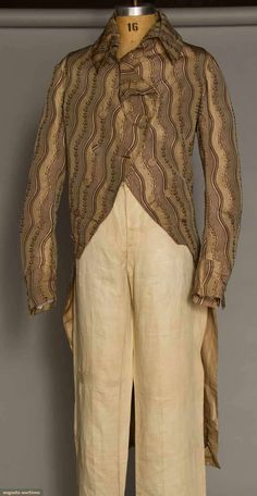 Tailcoat, Ireland, c. 1795. Taupe and mushroom serpentine striped silk brocade with narrow vine and leaf edge, self covered buttons, back lined in cream linen.