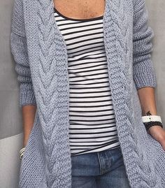 Cardigan knitted to order. Info for craftsmen: Drops Andes yarn was used… Ladies Cardigan Knitting Patterns, Crochet Cardigan, Knitwear Fashion, Knit Fashion, Alaska Fashion, Creative Knitting, Cardigans For Women, Crochet Clothes, Jacket Pattern