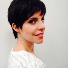 Dark cool brown hair color with a cropped pixie cut.Anne Hathaway inspired cut/Beautifull make-up/flair.be.Nina De Weerd/Elisabeth Bungeneers/Leen Van Den Meutter/Diane De Belder