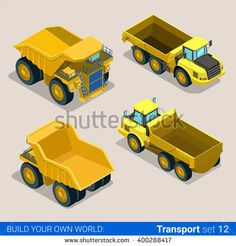 Flat 3d isometric style modern road highway surface making construction site wheeled track vehicles transport web app icon set concept. Tipper tip truck transportation auto. - stock vector