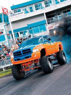 Orange and blue Dodge Cummins