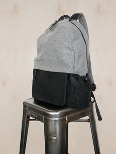 Wool & Canvas Backpack Grey / Black by UnionCityBags on Etsy