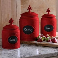 Kitchen Canister Sets Red | Safiya Moroccan Red Kitchen Canister Set Red Kitchen Canisters