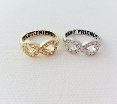 Delicate crystal infinity ring. 'Best Friends' is engraved inside of ring. size…