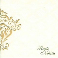 White with gold embossed design invitation