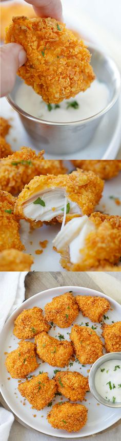 Tortilla Chip-Crusted Chicken Bites - coated with crispy chips and baked to perfection. 10 minutes active time and dinner is ready! | rasamalaysia.com Sponsored by O Organics