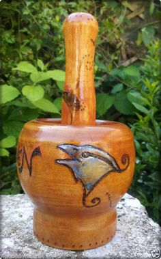 RAVEN Wooden Mortar & Pestle for Spells HERBS Rituals & Altar PAGAN Wicca TOTEM | eBay