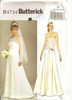 Butterick 4131 Bride Bridesmaid Corset Wedding Dress Gown