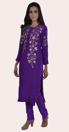 A Global Luxury Design House reinterpreting Indian heritage threads for the modern, discerning consumer Gota Patti Lehenga, Gota Patti Suits, Purple Hands, Indian Heritage, Indian Suits, Global Brands, Long Dresses, Kurtis, Salwar Kameez