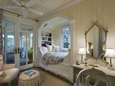 Seaside Cottage - beach-style - Bedroom - Other Metro - Gary Brewer Robert A. Alcove Bed, Bed Nook, Cozy Nook, Bedroom Nook, Bedroom Ideas, Built In Bed, Florida Home, Seaside Florida, Seaside Resort
