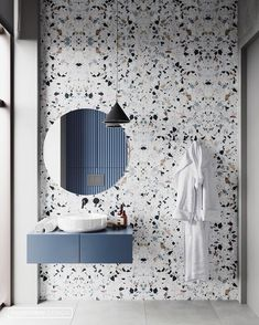 Beautiful Terrazzo tile for this sleek bathroom design. 😍😍 Design from 👌 Dream Bathrooms, Beautiful Bathrooms, Modern Bathroom, Gold Bathroom, Small Bathrooms, Mosaic Bathroom, Master Bathrooms, Washroom Tiles, Bathroom Tray