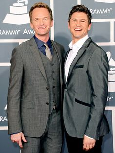 Some of Hollywood's strongest unions are also the industry's most powerful: Ellen DeGeneres and Portia de Rossi, Elton John and David Furnish, and Neil Patrick Harris and David Burtka are redefining what it means to be out and proud in Tinsel town Cute Gay Couples, Famous Couples, Celebrity Couples, Celebrity News, Hollywood Couples, Celebrity Style, Anniversary Message For Husband, Grey Suit Men, Grey Suits