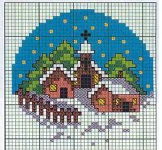 Cross Stitch House, Xmas Cross Stitch, Cross Stitch Christmas Ornaments, Cross Stitch Cards, Christmas Embroidery, Christmas Cross, Diy Christmas, Cat Cross Stitches, Cross Stitching