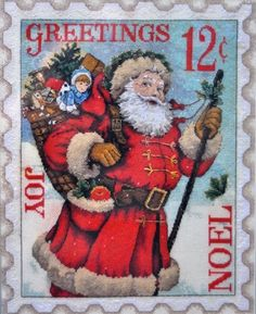 santa stamp (missing some of the pattern find it) Father Christmas, Christmas Cross, Xmas, Santas Vintage, Santa Stamp, Vintage Christmas Images, Santa Claus Is Coming To Town, Oeuvre D'art, Vintage Postcards