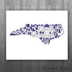 High Point North Carolina Landmark State Giclée by PaintedPost, $15.00 #paintedpoststudio - High Point University - Panthers- What a great and memorable gift for graduation, sorority, hostess, and best friend gifts! Also perfect for dorm decor! :)