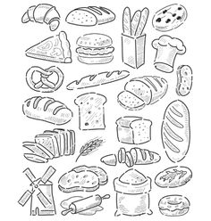 Hand drawn bread vector bakery by bioraven on VectorStock®