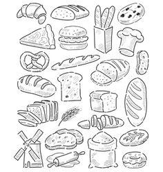 Hand drawn bread vector bakery by bioraven on VectorStock®