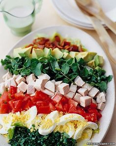 Cobb Salad- One way to remember the components is to use the mnemonic EAT COBB: Egg, Avocado, Tomato, Chicken, Onion, Bacon, Blue cheese[2]—then add lettuce.