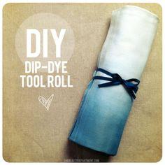 DIY dip dye makeup brush roll - the beauty department Makeup Brush Roll, Makeup Brush Holders, Do It Yourself Organization, Organization Ideas, Tool Roll, Diy Accessoires, The Beauty Department, Crafty Craft, Diy Beauty