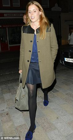 Beatrice after a night out with her boyfriend Dave Clark 29 April 2014