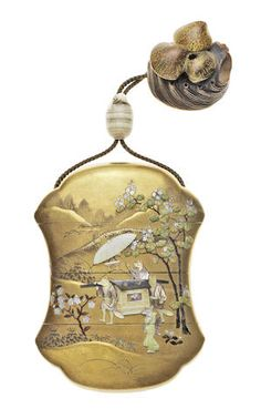 A gold-lacquer and Shibayama-inlaid three-case inro in the form of a bundo (balance weight) By Nemoto, Meiji era (1868-1912)
