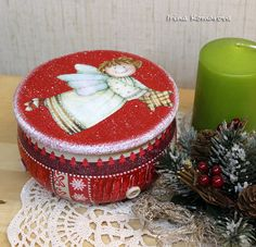 Christmas red wooden box angel christmas gift box by MissDecoupage