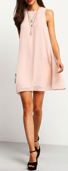Pink Sleeveless Crew Neck Shift Dress