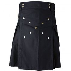 Working Men Kilt is very common to wear whole day due to its light weight and stylish front snaps and cargo side pockets to carry more stuff while wearing your casual black kilt. You will not get tired with your light weight kilt any way. Kilt's back pleats looks very stylish while running and working.