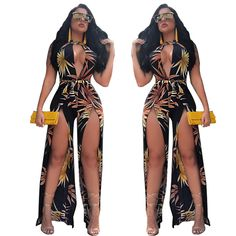 aceb57c493 Discount Sleeveless Sexy V Neck Slit Club Jumpsuits for Women MY9075. Rompers  WomenJumpsuits For WomenLadies NightPlaysuitsStyle ...
