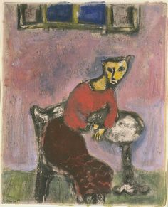 The Cat Transformed in to a Woman by Marc Chagall (1928)