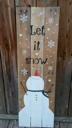 Pallet christmas projects let it snow pallet sign pallet xmas projects Pallet Christmas, Noel Christmas, Christmas Signs, Rustic Christmas, Christmas Projects, Christmas Decorations, Christmas Ornaments, Christmas Ideas, Christmas Wood Crafts