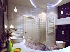 Wonderful Bathroom Design 2014 With Modern Purple and White Nautical Bathroom Design with Cloistered Corner Shower Area and Bowl Shape Twin Sinks