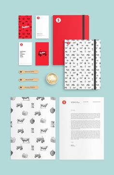 Stationery branding corporate graphic design ice cream business card notebook letter illustration logo colors type