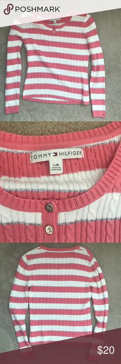 Tommy Hilfiger Stripe Sweater Great condition Tommy Hilfiger long sleeve sweater. Vertical white and pink stripes with metallic stripe separating. Great for work or casual wear. 94% cotton 4% polyester 2% metallic. Tommy Hilfiger Sweaters Crew & Scoop Necks