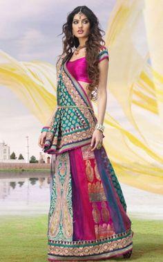 Turquoise Banarsi Jacquard Lehenga Style Saree