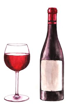 Hand-drawn watercolor illustration of the wine bottle and one glass of red wine. - Hand-drawn watercolor illustration of the wine bottle and one glass of red wine. Wine Glass Drawing, Bottle Drawing, Wine Tattoo, Red Wine Sangria, Red Wine Vinaigrette, Wine Painting, Wine Photography, Wine Guide, Wine Art