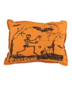 Skeleton Postcard Pillow   Vintage Style Halloween Decorations
