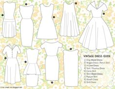 dress cuts and styles | Common Types of Vintage Dresses, vintage dress styles, vintage dress ...