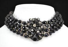 Signed Miriam Haskell Four-Strand Black Glass Bead/Rhinestone Choker Necklace
