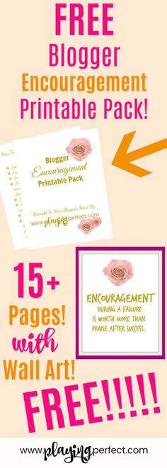 Encouragement for bloggers! Blogging can be hard so here's a free printable pack full of encouraging wall art and actionable tips for when you need some blogging inspiration! Also, check out how to have a blog detox so you can blog your best! Grab your FREE blogging printable pack! | playingperfect.com | #blogger #blogging #inspiration #beginnerblogger #playingperfect #progressnotperfection #bloggingtips #encouragement #bloggingideas #freewallart #freeprintable